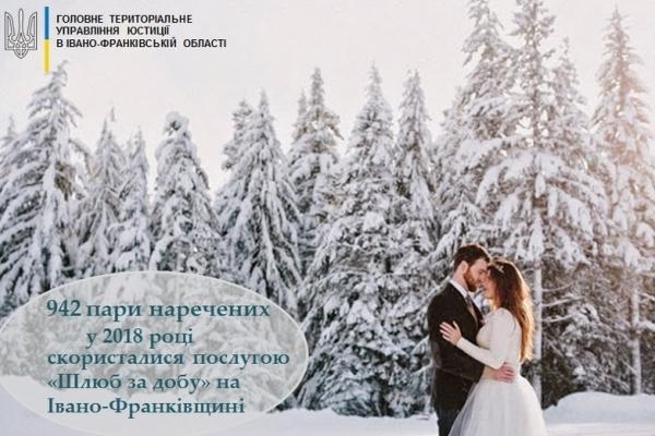 На Прикарпатті у 2018 році одружились «за добу» 942 пари