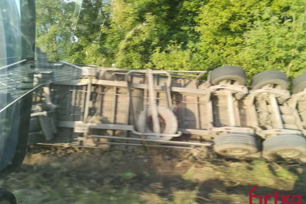 На трасі поблизу Бурштина перекинувся лісовоз