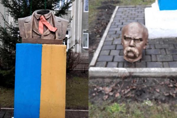 На Прикарпатті невідомі відрізали голову пам'ятнику Тарасу Шевченку